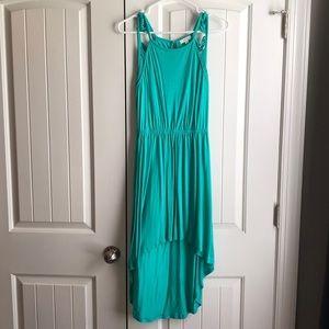 Teal high-lo dress